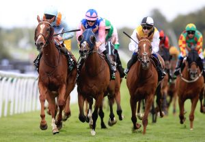 Timoshenko (left) winning the Qatar Goodwood Handicap in July