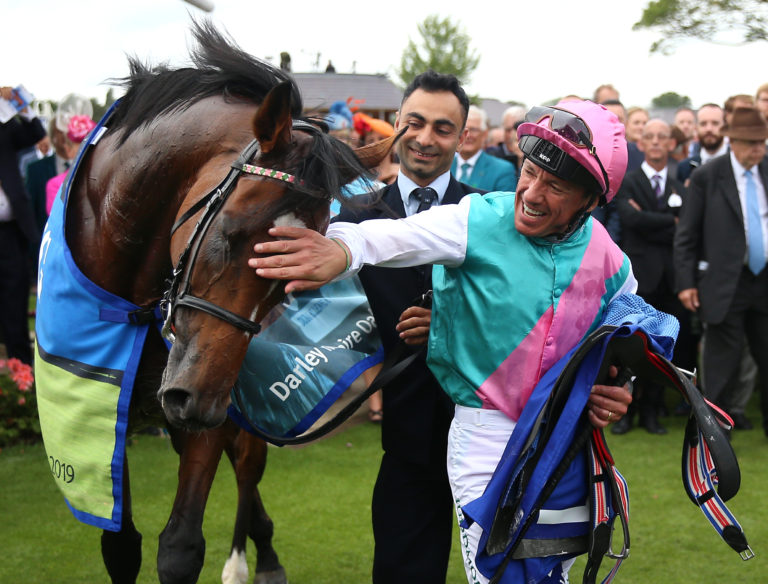 Enable and Frankie Dettori on the way to the start for the Coral-Eclipse