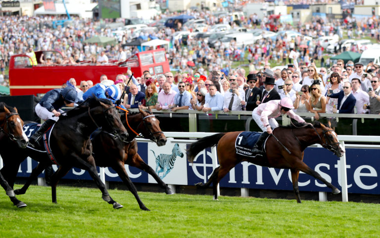 Anthony Van Dyck (pink) won a blanket finish for the Derby last year