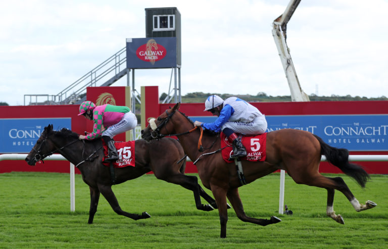 Talking Tough holds Soaring Monarch to land the Claytonhotelgalway.ie Handicap at Galway