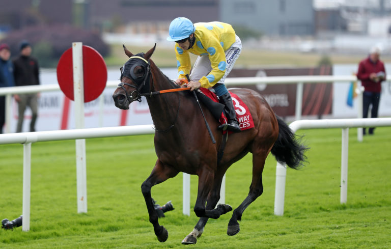 Royal Canford cross the line well clear to give jockey Billy Lee a quick double at Galway