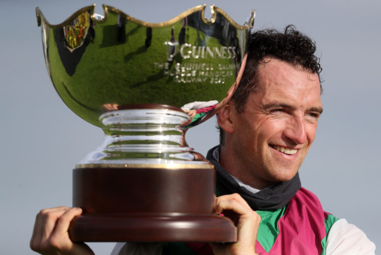 A big smile from Patrick Mullins following the Galway Hurdle