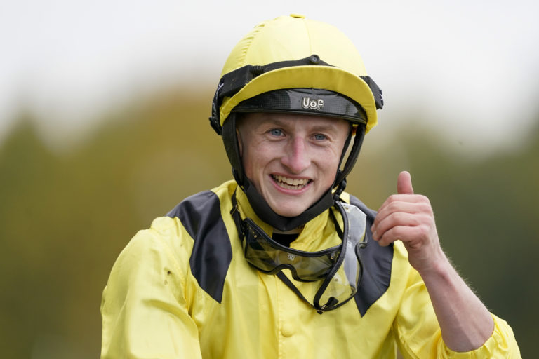 Thumbs up from Hollie Doyle's partner Tom Marquand after his win on Addeybb in the Qipco Champion Stakes at Ascot
