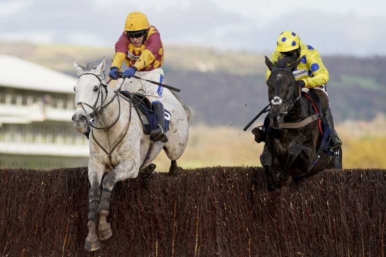Ramses De Teillee (left) came out on top in a battle with Yala Enki at Cheltenham