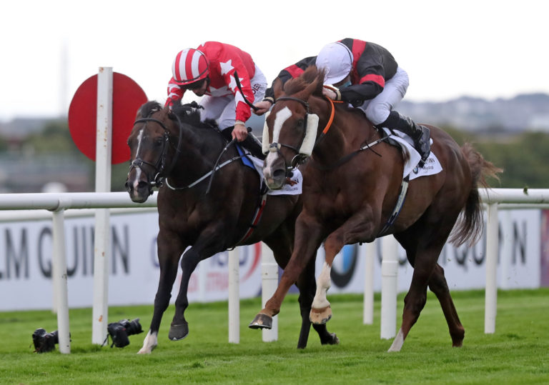 Saltonstall (right) winning at the Galway Festival