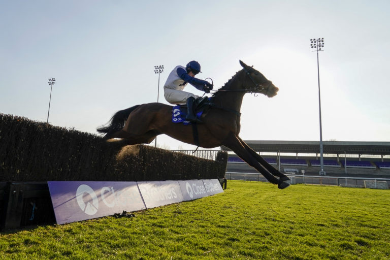 Clondaw Castle clears the last before winning well at Kempton