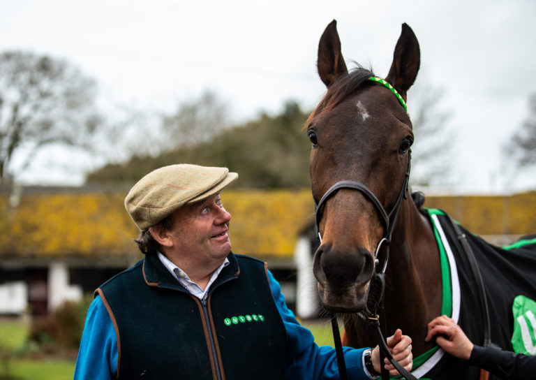 Nicky Henderson with Buveur D'Air at Seven Barrows