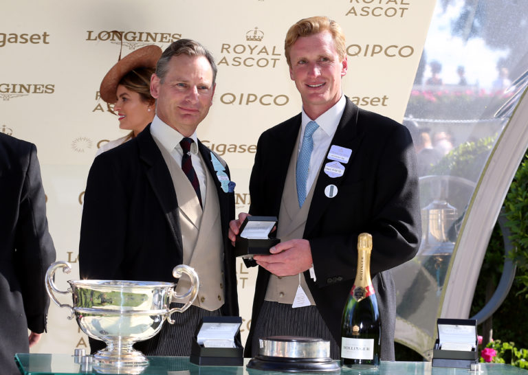Ed Walker (right) receives his trophy after winning the Sandringham Stakes with Agrotera in 2018