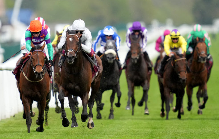 Lady Bowthorpe (orange cap) was the only one to give Palace Pier a race at Newbury