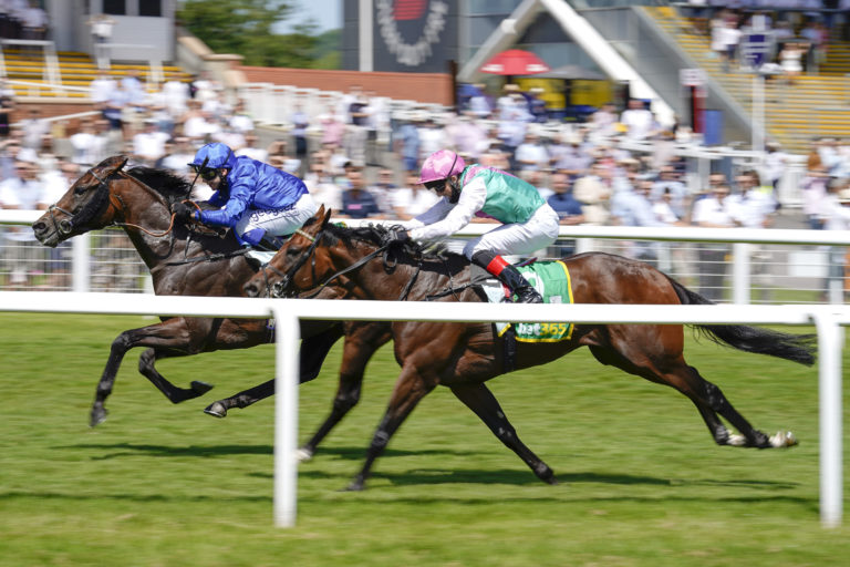 Marco Ghiani drives Real World (blue) to victory in the Steventon Stakes at Newbury
