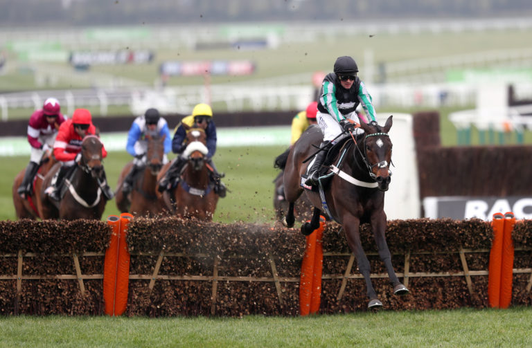 Altior jumps the last in the Supreme with eventual third Buveur D'Air in red