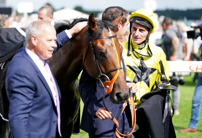 Clive Cox and Adam Kirby with Caturra at Doncaster